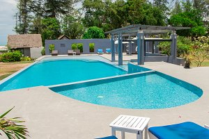 pool bed beside the pool