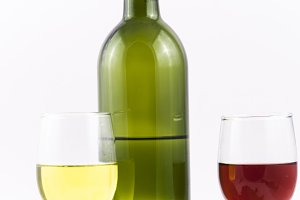 wine and grapes isolated