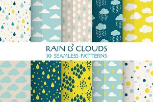 Rain & Clouds. 10 Seamless Patterns