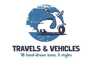 Travel & Vehicles. 18 Illustrations