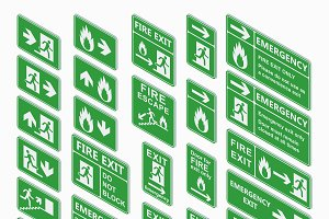 Exit isometric sign vector