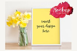 White Frame With Narcissus Mockup