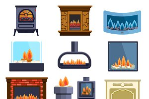 Set of vector fireplace icons