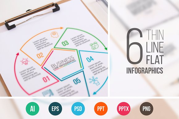 Linear elements for infographic v.11