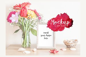 Grey Frame With Bouquet Mockup