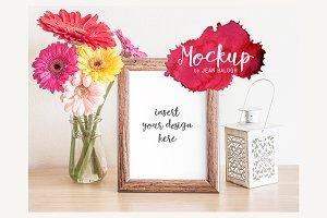 Wooden Frame & Flowers Mockup