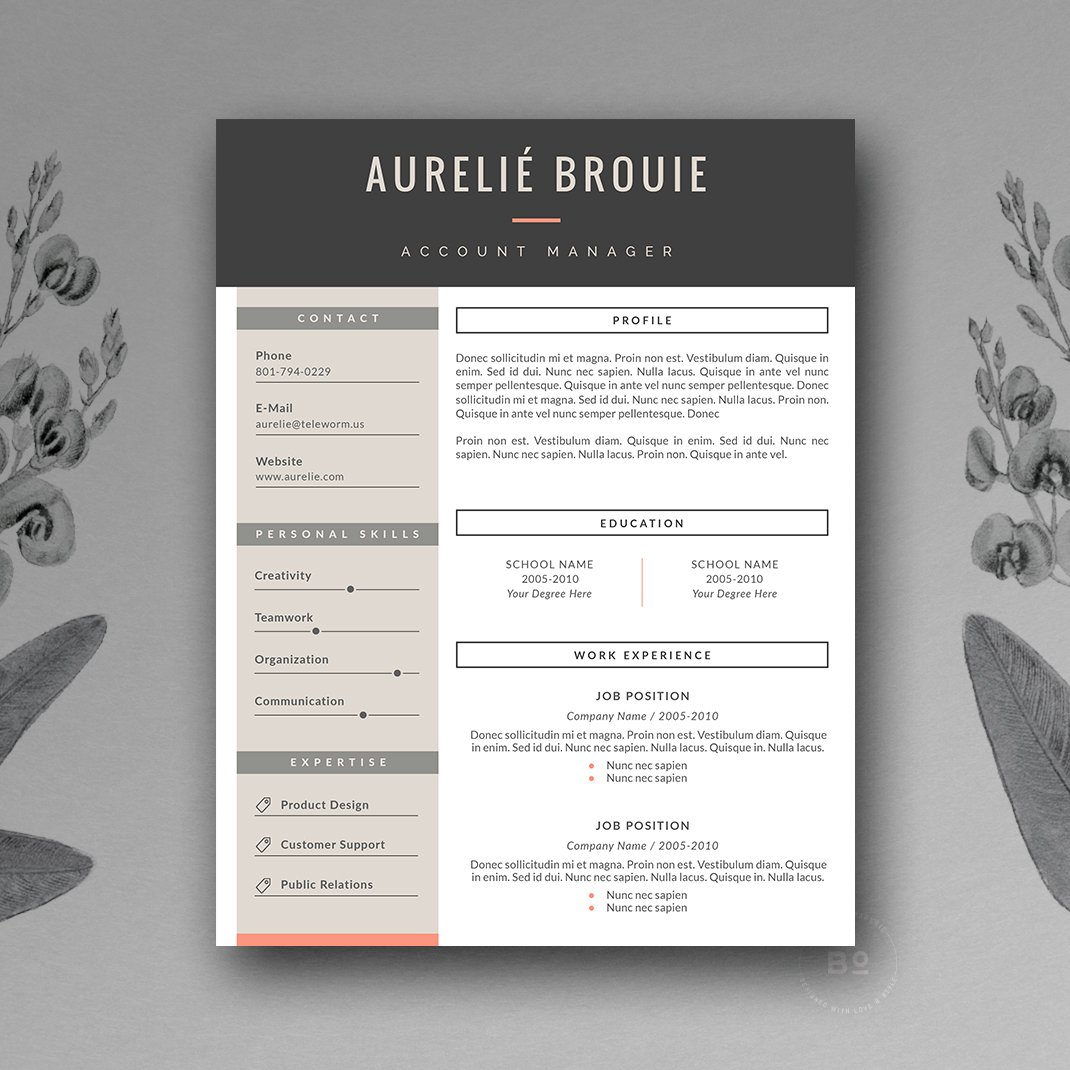 cv template for ms word resume templates creative market