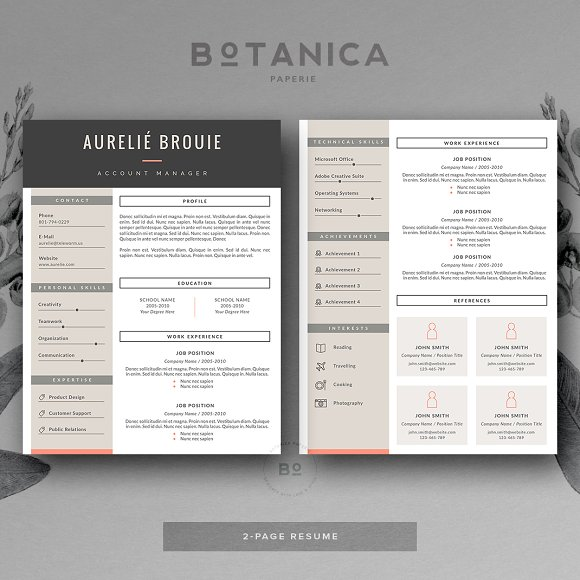 cv template for ms word resume templates on creative market