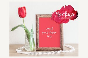 Wooden Frame With Tulip Mockup