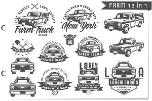 13 in 1 Set of farm truck emblems