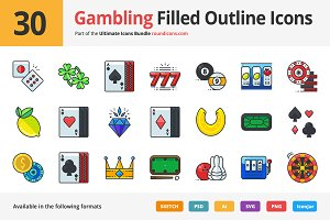 30 Gambling Filled Outline Icons