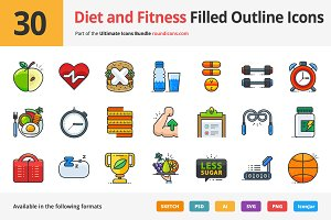 30 Diet and Fitness Outline Icons