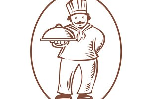 Chef Cook Baker Holding Dish Pla