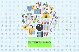 Entertainment flat vector set