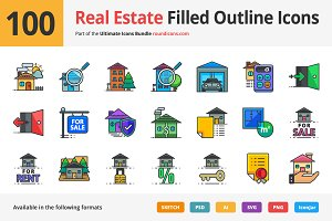 100 Real Estate Filled Outline Icons