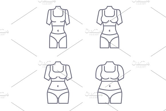 ce7c792ec2c15 Collection of female body types ~ Illustrations ~ Creative Market