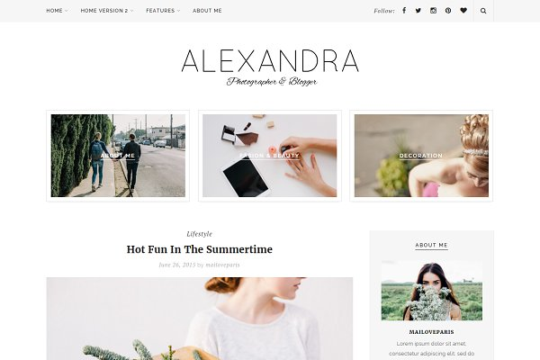 Alexandra - Wordpress blog theme