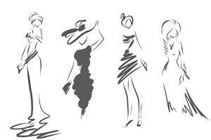 4 women's silhouettes
