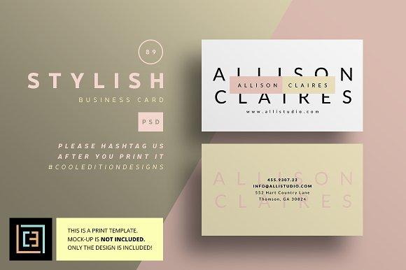 Stylish business card 89 business card templates creative market reheart Choice Image