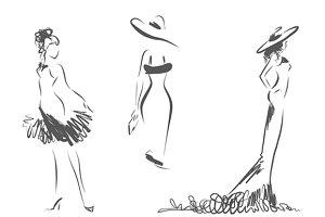 3 women's silhouettes