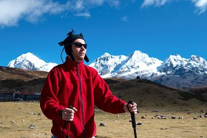 Hiker on the road in Himalayas