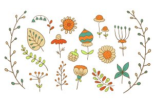 Hand Drawn Vector Florals