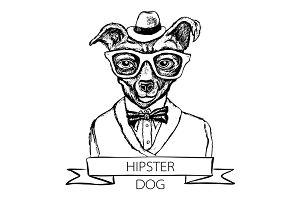 Illustration of dog hipster