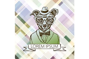 Illustration of dog hipster vector