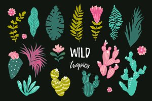 Wild tropics vector hand drawn set
