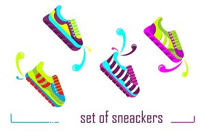 Set of color sneackers