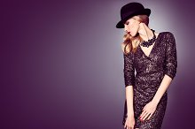 Fashion woman, Glamour sequins dress. Party Outfit