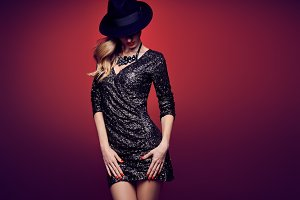 Fashion woman, Luxury sequins dress. Party Outfit