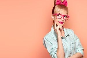 Fashion. Woman in stylish Glasses Having Fun, Nerd