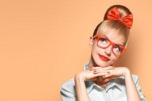 Fashion. Woman in stylish Glasses Having Fun