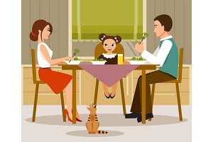 Family dinner. Vector illustration