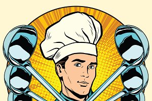 Cook and ladles pop art retro icon