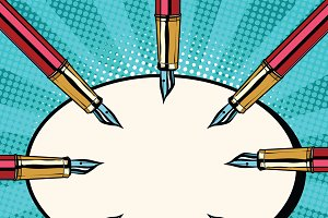 Fountain ink pens pop art retro