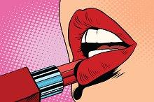 red lipstick, makeup
