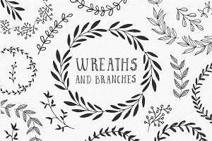 Hand drawn wreaths and branches