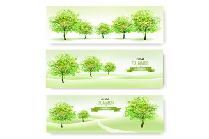 Green nature summer banners. Vector.