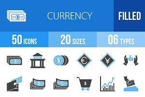 50 Currency Blue & Black Icons