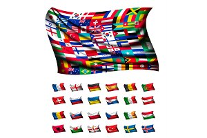 Huge flag out of different countries