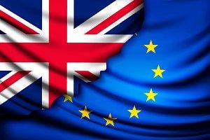 UK flag torn from EU flag.