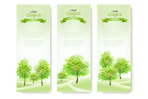 Green nature summer banners.