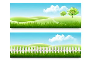 Summer countryside banners.