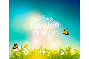 Summer background with butterflies.