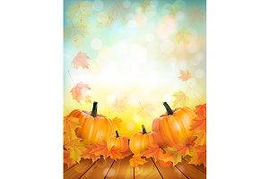 Autumn pumpkin harvest background
