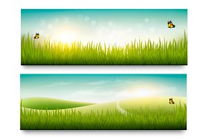 Summer meadow landscape banners