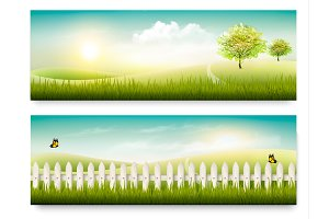 Two summer countryside banners.