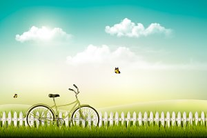 Meadow landscape with a bicycle.